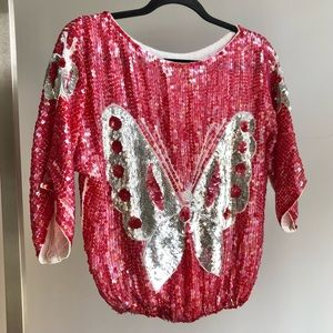 1980s VTG Butterfly Pink & Silver Sequin Top